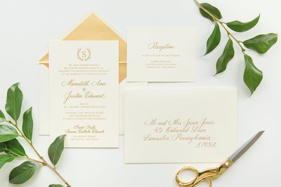 Gold ink custom calligraphy invitation and envelope for wedding