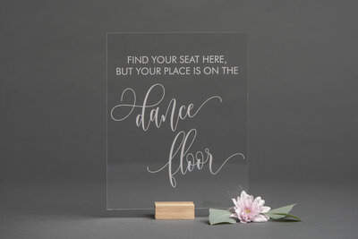 Clear Acrylic Find Your Seat Sign
