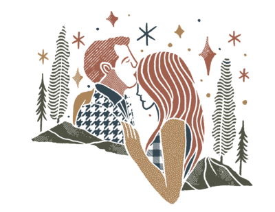 hand drawn man and woman with stars and trees