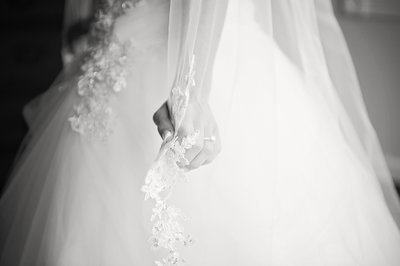 bride holding veil at clarks landing yacht club wedding