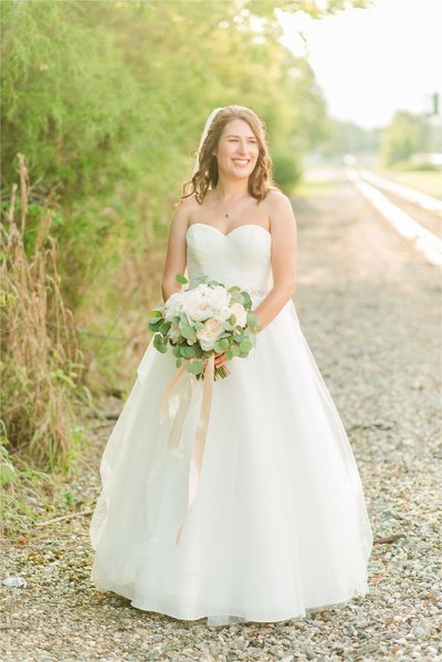 sunset portrait of chattanooga, Tn bride at The Peyton Venue