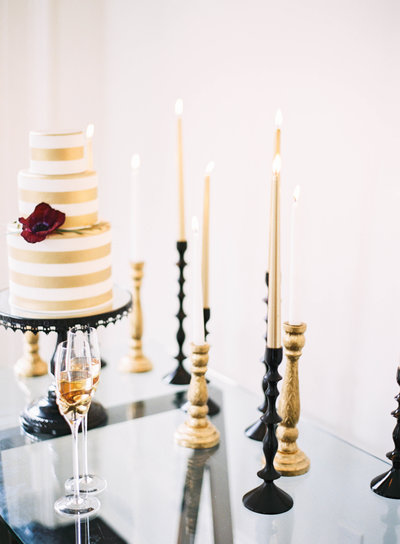 Micro Wedding Cake and Champagne Toast
