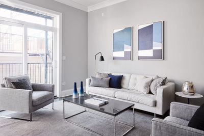 Haven Home Staging - Living Room Spaces with neutral tones whites greys blues