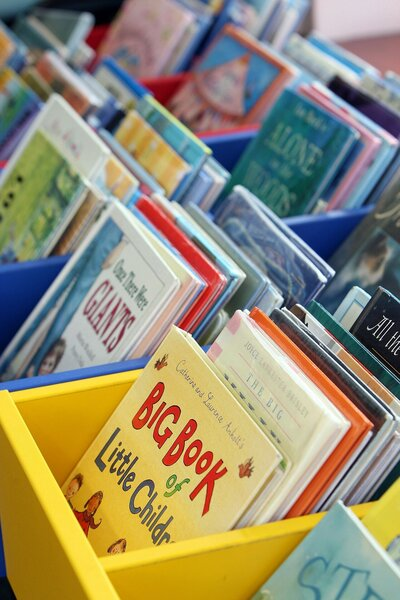 picture books in baskets