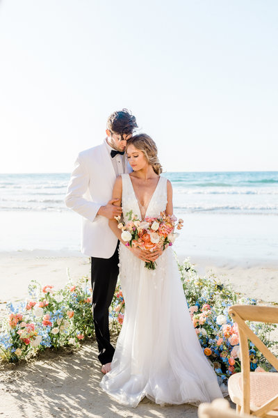 beach wedding with florals in San Diego, California