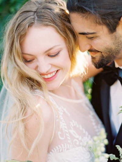 beautiful portrait of a bride and groom