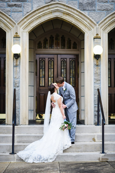Couple at First Presbyterian Meridian Mississippi Wedding
