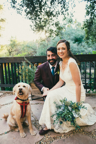 Bride and groom hold bouquet and pose by their dog