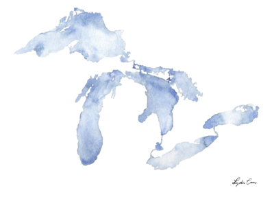 blue watercolor silhouette great lakes