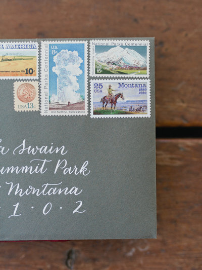 Vintage Stamps on Wedding Invitation for Luxury Montana Wedding