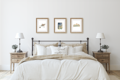 Floral Farmhouse Bedroom Wall Art