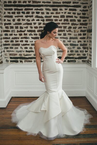Photo link to more details about the Amaryllis strapless mermaid wedding dress