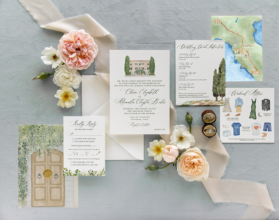 Custom invitation suite for a couple getting married in Tuscany, Italy