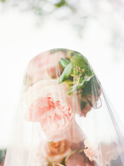 Beautiful double exposure image of a bride on her wedding day