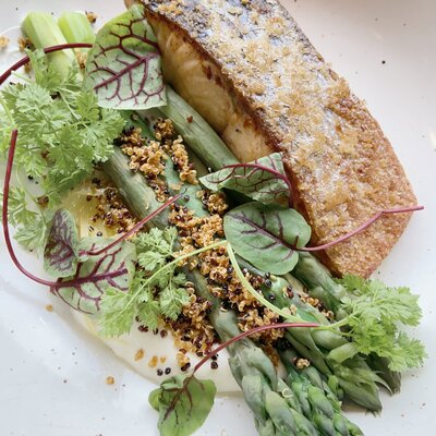 Crispy Skin Salmon and fresh asparagus - Mandy Fave Food