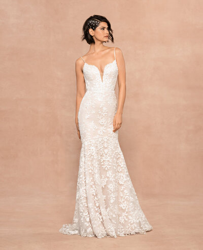 Blush by Hayley Paige bridal gown - Frosted Lily embroidered fit to flare gown, plunging sweetheart neckline with illusion net insert, low open back with nude net yoke, ivory floral sequined detail over cashmere lining. Shown with matching Frosted Lily veil.