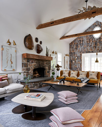 Great Room with Vaulted ceiling, wood beams, Velvet Sofa