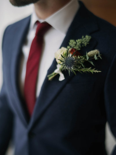 New England Groom in Autumn Suit with Red Tie