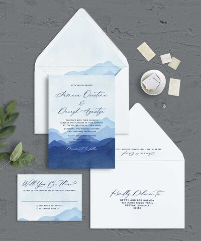 Hand Painted Mountain Wedding Invitations for Destination Wedding