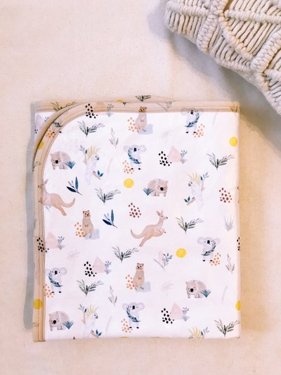 Luxury Australian Animal Baby Toddler Sherpa Blanket Gift - Wombat & Friends