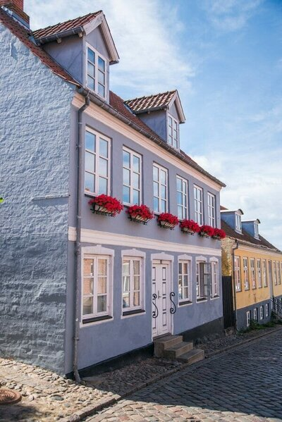 Blue house in Ebeltoft, Denmark