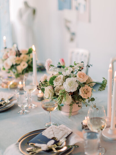 Placesetting for intimate french inspired wedding.