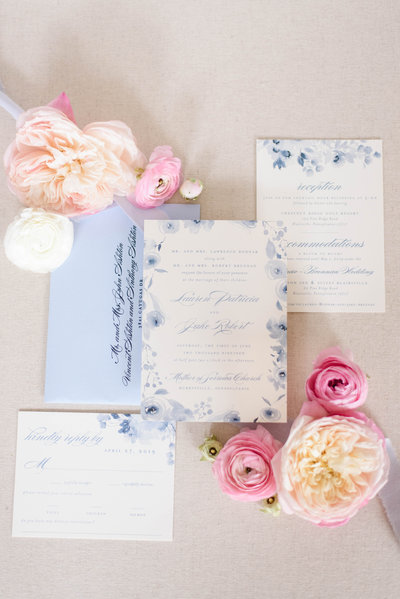 Dusty Blue Watercolor Flower Wedding Invitation