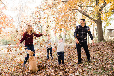Fun candid Fall family photo session in Verona NJ