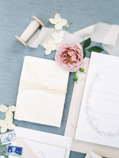 fine art wedding invitation suite styled  by portland wedding photographers sweetlife photography