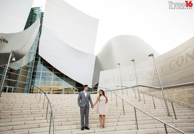 Walt Disney Concert Hall Engagement Photos Los Angeles County Wedding Professional