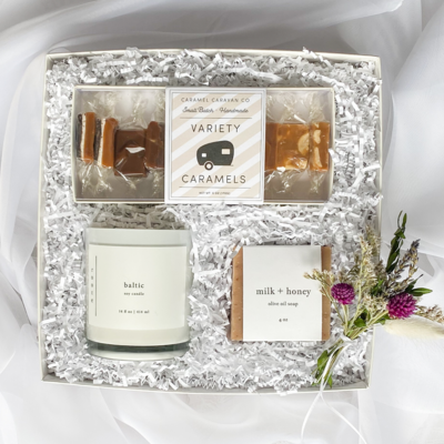 Beautifully curated gift boxes for everyday occasions are right at your fingertips. All gift boxes include chic gift packaging and a hand written card that is guaranteed to be well received!