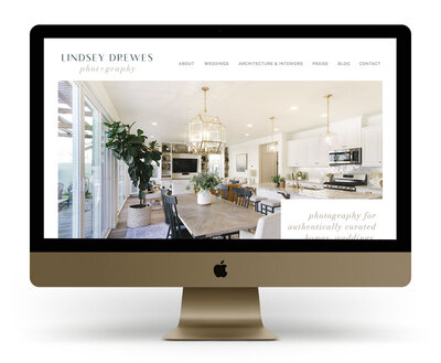 Custom Showit Website Design Mock Up for Lindsey Drewes, a California interior design and wedding photographer
