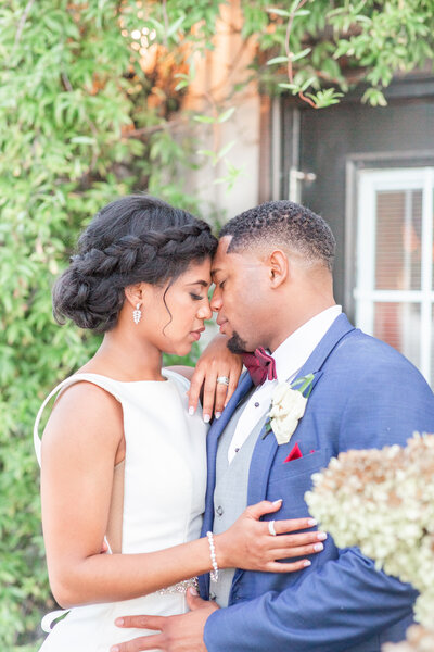 A bright and airy wedding portrait of a black bride and groom at their wedding at Stratton Hall in Chattanooga Tennessee by Jennifer Marie Studios, Atlanta's top wedding photographer.