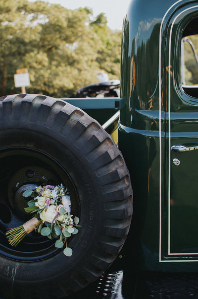 Green Tractor with Bridal Bouquet at Bourne New England