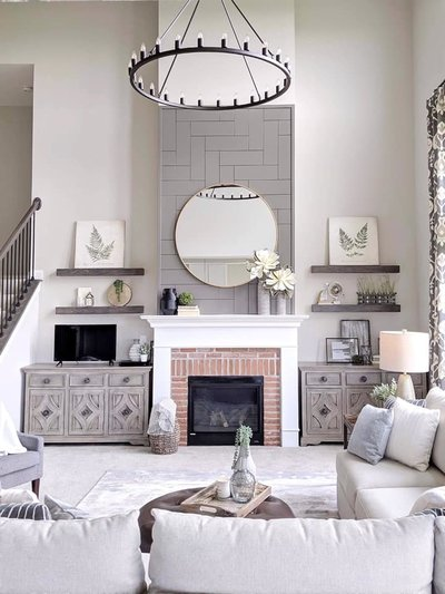 gray herringbone shiplap fireplace wall