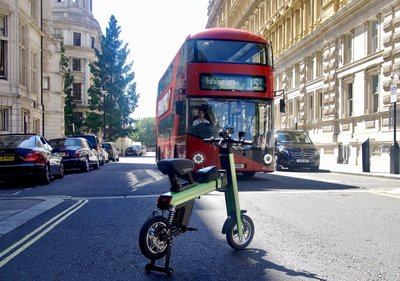 Green Go-Bike M2 in the streets of London England