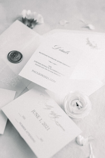 Classic wedding invitation suite captured by NJ wedding photographer Myra Roman