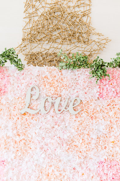 blush and ivory flower wall