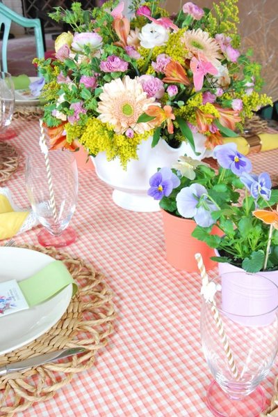 A colorful table scape with pink gingham, wicker, and fresh potted spring flowers.