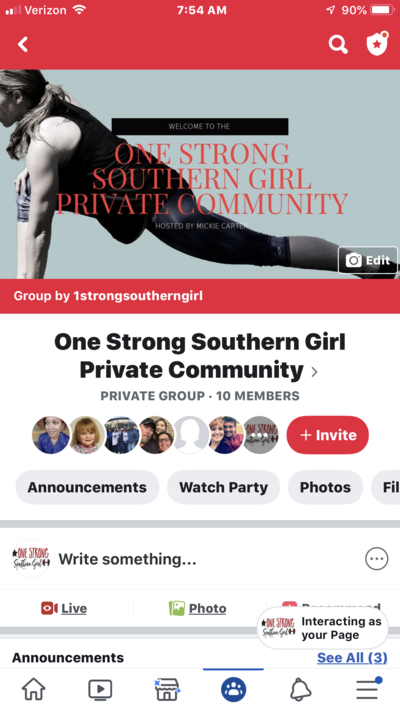 a screen shot of the cover art of the private facebook group for One Strong Southern Girl