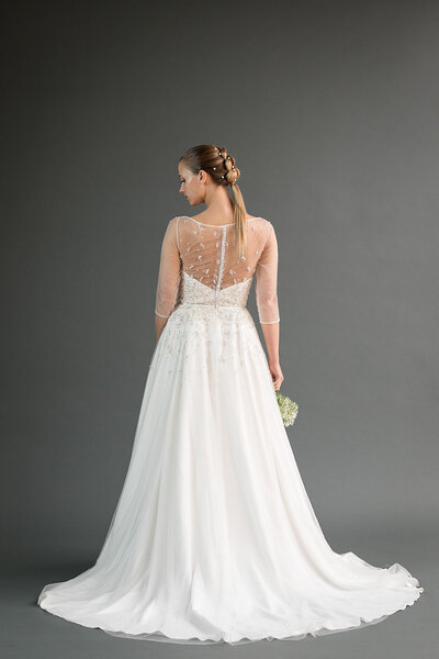 Back view of the Rei a-line wedding dress from the Edith Elan 2019 bridal collection