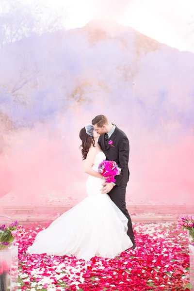 Pink and Purple Smoke Bomb El Chorro Wedding  | Amy & Jordan Photography