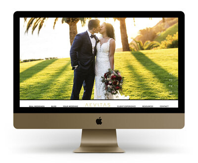 Custom Showit Website Design Mock Up for Aevitas Weddings, a Los Angeles wedding photographer