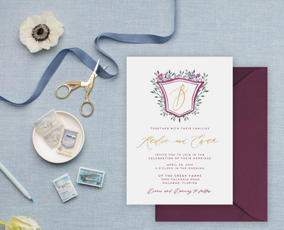 Purple and Gold Wedding Invitations with Simple Crest and Flowers