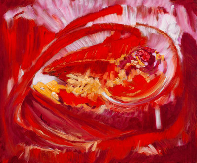 "Abstract oil painting in reds based on Rumi quote ""...The family darling comes home…"", expression of joy in the afterlife."
