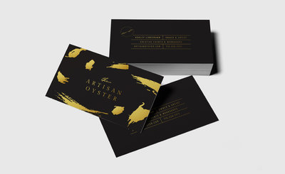 Gold foil business card design for The Artisan Oyster.