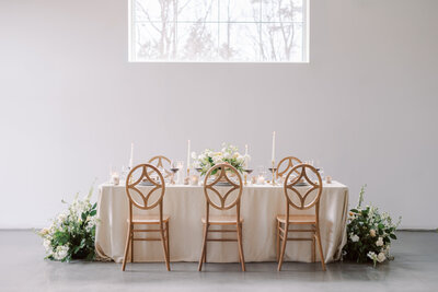 diamond back chairs at long table