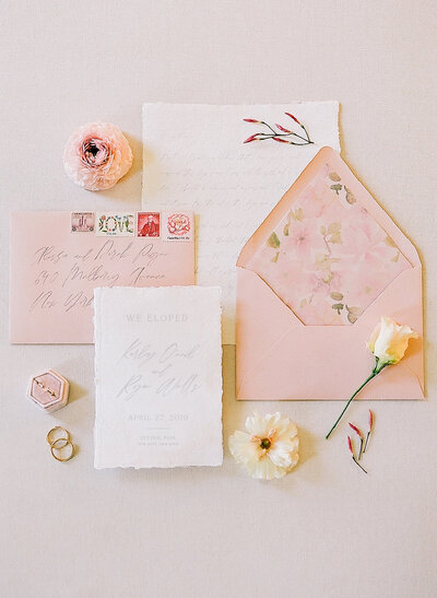 dusty pink wedding invitation for nyc elopement cherry blossom