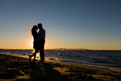 Silhouette Beach engagement photos in Maryland