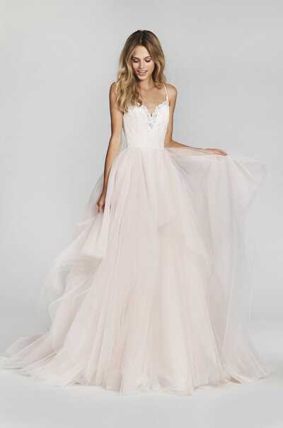 Blush by Hayley Paige bridal gown - Cherry Blossom lace and tulle bridal ball gown, spaghetti strap sweetheart lace bodice, full tiered tulle skirt. Also available in Ivory.
